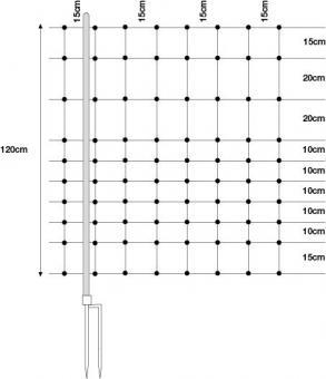 WolfNetz Wolfsabwehrnetz für Schaf-und Ziegen, 120cm, 50m gelb/sw Doppelspitze