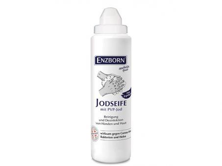 ENZBORN® Jodseife 250ml wirksam gegen Bakterien, Hefen und behüllte Viren (z.B. Coronaviren)